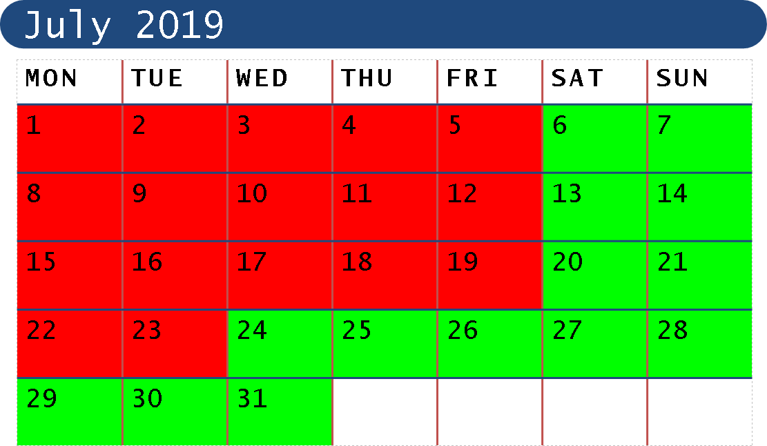 July 2019 Opening Dates