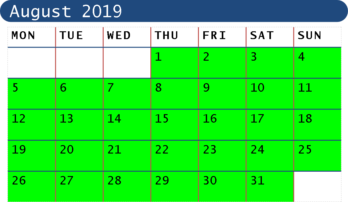 August 2019 Opening Dates