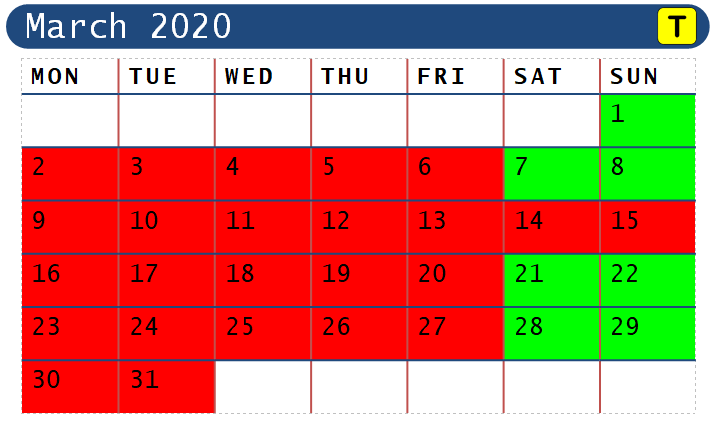 March 2020 Opening Dates for Range Walks ONLY