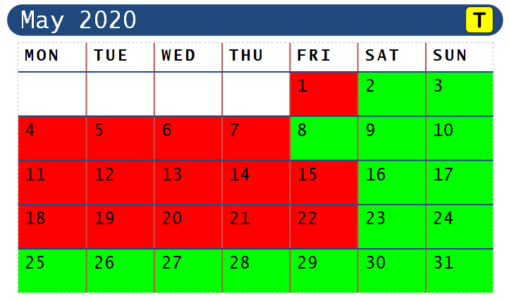 May 2020 Opening Dates for Range Walks ONLY