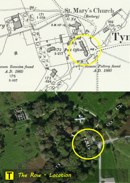 Map and satellite view showing the location of The Row and Post Office at Tyneham