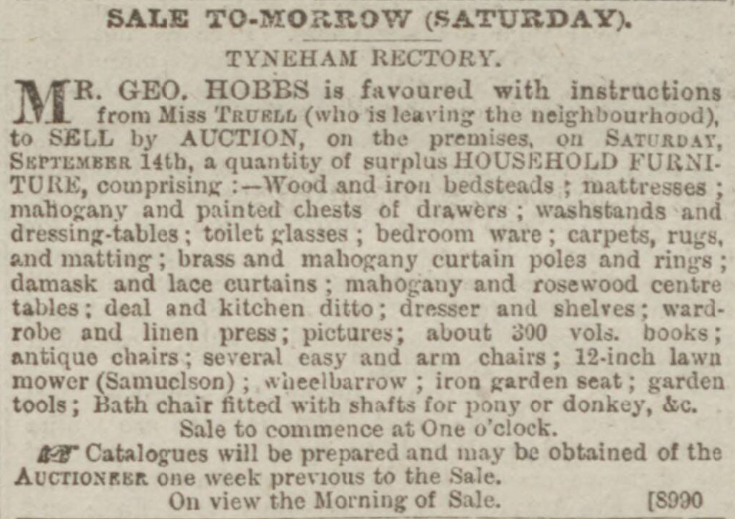 Sales of the Truell family's household furniture at Tyneham House in 1889