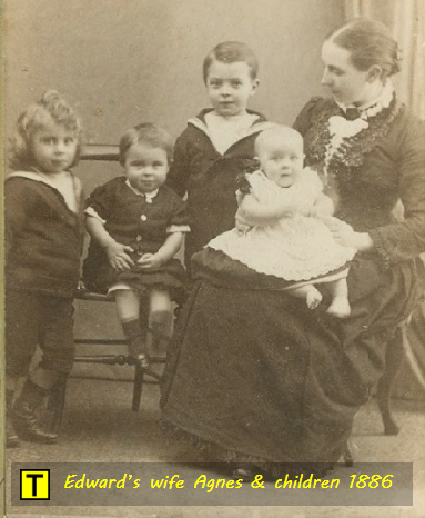 Revd. Edward Hawkes' wife Agnes and children 1886