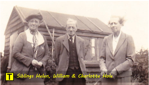Siblings Helen Hole, William Hole and Charlotte 'Lottie' Hole at Tyneham