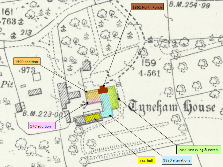 Tyneham Hose map showing likely dates of additions and alterations